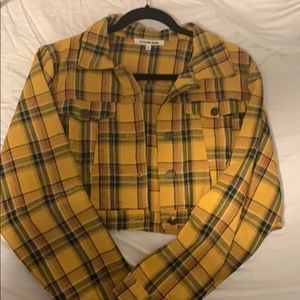 Cropped yellow plaid jacket